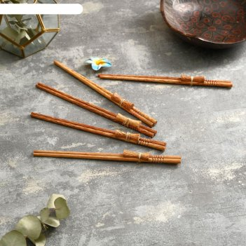 Палочки китайские трапеза 5 пар 24х9х2 см кокос