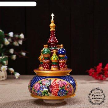 Сувенир-шкатулка музыкальная храм.россия, 19х15,5 см, роспись