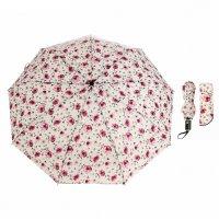 Зонт автоматический «цветы», 3 сложения, 9 спиц, r = 52 см, цвет белый/роз