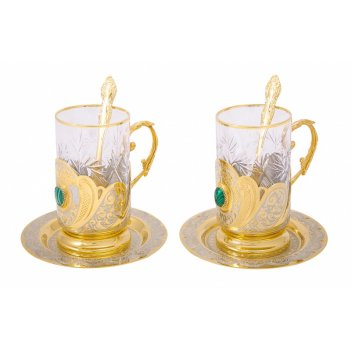 Набор чайный малахит на 2 персоны ( 2 тарели, 2 подстаканника,