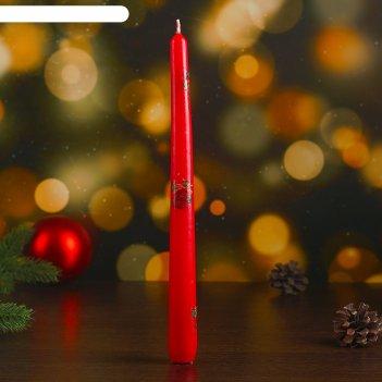 Свеча античная новогодняя с деколью, бордовая, 2,45x23,7см