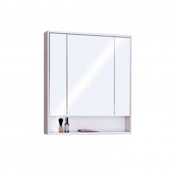 Зеркало-шкаф рико 80 1a215302rib90, цвет белый/ясень фабрик