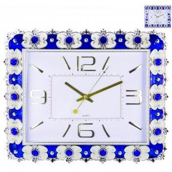 Часы настенные прямоугольные home art «синий барокко» 44,2x36 см