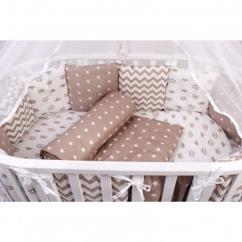 Комплект в кроватку premium royal baby, бязь, цвет коричневый