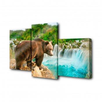 Модульная картина на холсте медведь на обрыве (26*40см, 26*50см, 26*31см)