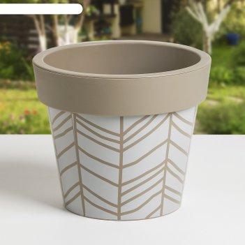 Вазон гамма с декором 14*12см. stripe, какао