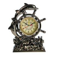 Часы настольные циферблат в форме штурвала три дельфина 16,5*12*4,5 см.