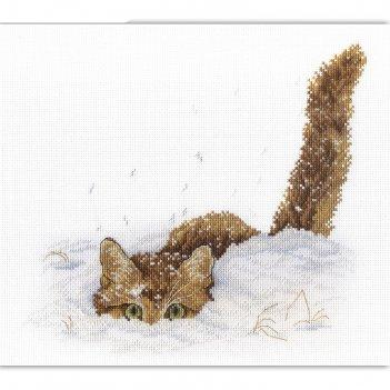 Набор для вышивания кот в снегу, канва, нитки 13 цветов, игла, схема, инст