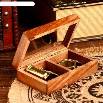 Сувенирный набор в шкатулке моряк (брелок, компас, подзорная труба)