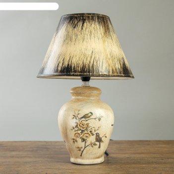 Лампа настольная птица в цветочном саду е14 220в  35,5х24,5х24,5 см
