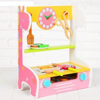 Игровой набор гриль, деревянная посуда и еда в наборе