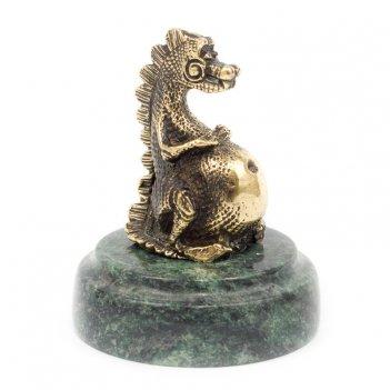Статуэтка пузатый дракон бронза змеевик