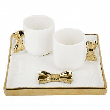 Набор 2 чашки и блюдо бант v=90мл. (подарочная упаковка)