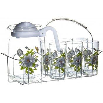 Набор для воды кувшин и 6 стаканов на метал.подставке, 7 предметов
