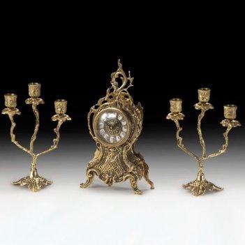 Часы настольные с канделябрами на 3 свечи, набор из 3 предм.