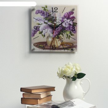 Часы настенные, серия: цветы, сирень в вазе, на подносе, 35х35 см