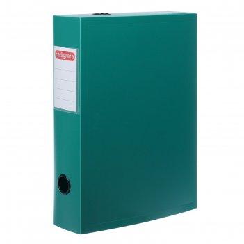 Короб архивный на кнопке разборный, 70мм, пластик, 800мкм, зеленый
