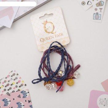 Резинка для волос катарина (цена за штуку) бусины, синий и розовый