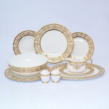Столовый сервиз на 6 персон 25 предметов golden romance cream gold