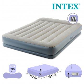 Кровать надувная pillow rest queen, с подголовником,152*203*302см, со всто