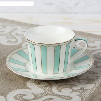 Чайная пара 180 мл гастроли, блюдце 14,8 см, цвет бирюзовый