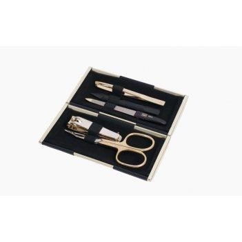 Маникюрный набор yes, 5пр. футляр: металл, цвет зеркальный золотистый/ чер