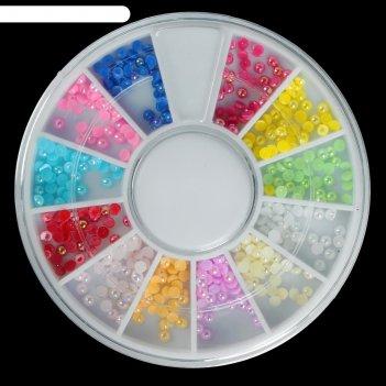 Набор для дизайна ногтей карусель 12 ячеек жемчужины микс