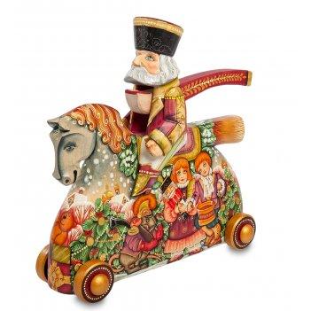 Фигурка резная щелкунчик на коне художественная роспись