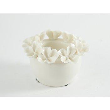 Подсвечник цветы на одну свечу, фарфор 10*7см
