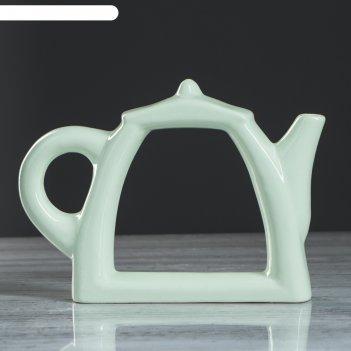 Ваза чайник, зелёный цвет, 17 см