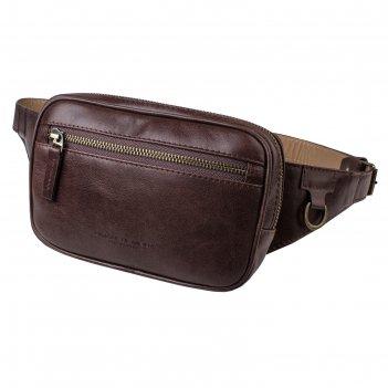 Поясная сумка, 2 отдела на молнии, регулируемый ремень, цвет коричневый