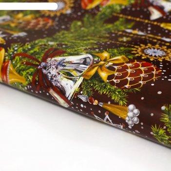 Бумага упаковочная глянцевая роскошного нового года,70х100 см