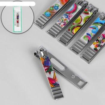 Кусачки-книпсер педикюрные, с пилкой, 8 см, рисунок микс