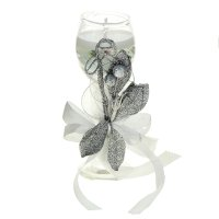 Свеча гелевая лепестки, цвет серебро