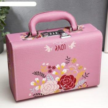 Шкатулка кожзам для украшений чемодан нарисованные цветы 9,5х24х16,5 см