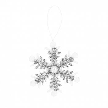 Украшение декоративное (подвесное) снежинка 5,5*10см. (3вида) (min72) (упа