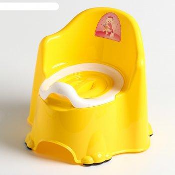 Горшок детский антискользящий «комфорт» с крышкой, съёмная чаша, цвет жёлт
