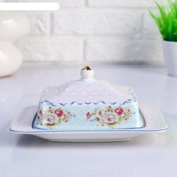 Маслёнка «розовые цветы», 20.5 х 13.5 х 9 см, керамика