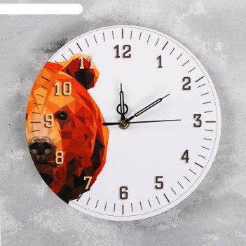 Часы настенные медведь, d=23.5. плавный ход, стрелки микс