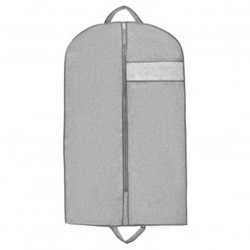 Чехол для одежды с окном 100x60 см, спанбонд, цвет серый