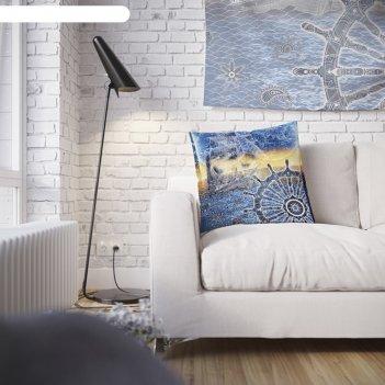 Наволочка декоративная якорь, 45 х 45 см, вшитая молния