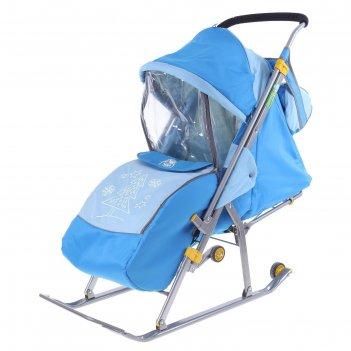 Санки-коляска ника детям 4 с прорезиненными колёсиками, цвет бирюза-синий