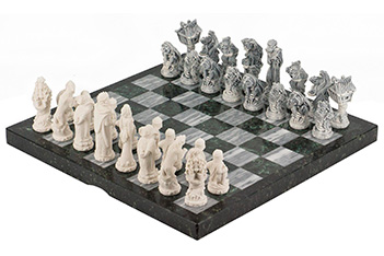 Шахматы русские сказки змеевик мрамолит 440х440 мм