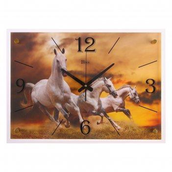 Часы настенные прямоугольные лошадь 40х56 см