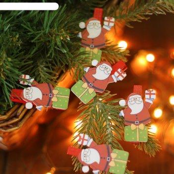 Набор новогоднего декора на прищепке, 6 шт