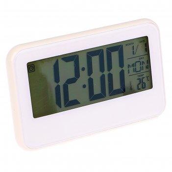 Часы-будильник электронные, подсветка с датчиком звука, дни недели, белые,