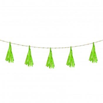 Лента тассел, набор 5 шт, цвет зелёный