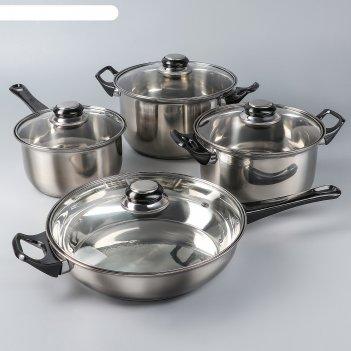 Набор посуды черная ночь, 8 предметов: ковш 1,4 л, 2 кастрюли 2/2,9 л, ско