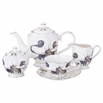 Чайный сервиз на 6 персон 15 пр. котики 1000/250/300/600 мл (кор=2набор.)