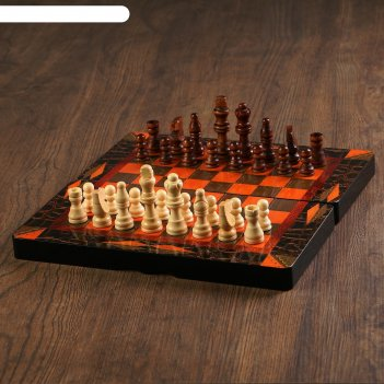 Нарды шашки шахматы 3в1, поле 30 см, фишки d=2 см, фигуры от 3 до 6 см, кл